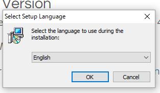 GIMP言語選択画面